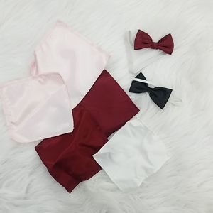 Set of 2 baby bowties and pocket squares